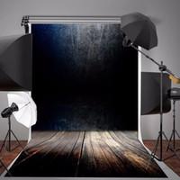 vinilo fotografia telones de fondo pared piso al por mayor-Fondo de fotografía de vinilo de 5X7 pies Fondo de pared de madera de color gris oscuro degradado Vintage Telones de fondo para accesorios de estudio fotográfico