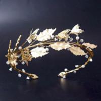 corona imperial tiara al por mayor-Hojas de oro corona barroca nupcial diadema Tiaras mariposa Imperial corona diademas boda pelo accesorios nupcial tocado