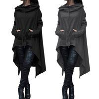 capas de lã preta venda por atacado-Alta qualidade para mulheres Preto Coats Autumn Ladies Batwing casaco de lã Oversized pulôver ocasional do revestimento do revestimento solto Cape Outwear Manto