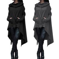 hochwertige damen wollmäntel großhandel-Hochwertige Frauen schwarze Mäntel Herbst Damen Fledermaus Wolle übergroßen Mantel lässig Pullover Mantel Jacke lose Cape Outwear Mantel