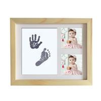 fotos chuveiros venda por atacado-Diy bonito foto frame bebê recém-nascido handprint footprint touch pad crescimento do bebê memorial álbum de fotos presente do chuveiro decoração