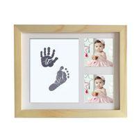 fotos de tinta al por mayor-DIY lindo marco de fotos bebé recién nacido Huella Huella táctil del cojín de tinta bebé Crecimiento conmemorativo de la foto de la ducha de la decoración de regalos