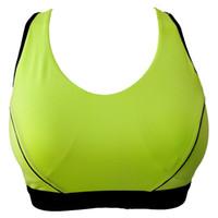 ingrosso le donne sexy della biancheria intima verdi-Green Racerback Wireless Bra sexy per le donne femminili Canotta antiurto Lingerie Running Top Vest Underwear con imbottitura interna MB001