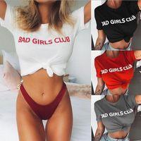Wholesale T Shirt Bad - Bad Girls Club Word Printing T-shirt Women Letter Printed Loose Casual Blouse Tops Funny Shirts Tees 4 Colors LJJO4221