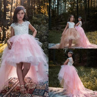 light pink beads Canada - 2018 Flower Girls Dresses Baby Pink Short Sleeves White Lace Applique Beads High Low V Back Tiered Tulle Kids Birthday Girls Pageant Gowns
