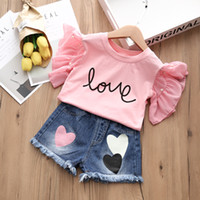 Wholesale love baby clothes - Baby Girls Clothes Summer Love Letter T-shirt+Love Short Pants Outfits 2 PCS Girl Clothes Set 5 s l