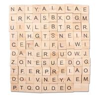 tejas de scrabble de madera para manualidades. al por mayor-100 UNIDS Artesanía Letras de madera Alfabeto de madera Azulejos Números de letras negras para Scrabble Arts and Crafts regalos de fiesta