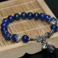 Wholesale semi precious stones round 8mm for sale - Group buy Natural blue lapis lazuli round beads mm women bracelets semi precious stone high grade fashion jewelry making inch B2068