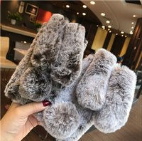 Wholesale black hair pink rose online - 2018 Lovely Soft D Rabbit Ears Plush Fur Furry Warm Phone Cases For iphone X Cute Soft TPU Fluffy Hair Back Cover