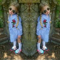 vestido de flores niñas raya bebé al por mayor-Baby girls stripe Shirt dress 2018 the más nuevo Children rose Flowers princess dresses Boutique Ropa para niños