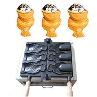máquinas de gelo venda por atacado-Nova chegada 3 pcs Sorvete Taiyaki Maker Máquina Fabricante De cone de Peixe para Venda