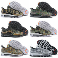 Wholesale france country - New Airs Top Quality Cushion 97 Country Camo Japan Italy France Germany Men Running Shoes Camouflage Olive Green Sports Sneakers Size 40-46