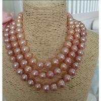 akoya perla 12mm al por mayor-11-12mm rosa púrpura akoya collar de perlas naturales 50 pulgadas Girasol formas cierre