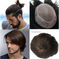Wholesale fine human hair - 6x8 7x9 inch 100% Indian Virgin Human hair toupee durable Fine Mono with transparent PU Around Men toupee replacement natural hairline