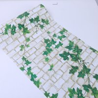 Wholesale pink paper wallpaper - PVC self-adhesive wallpaper green leaves white brick bathroom balcony self-adhesive wallpaper waterproof -265