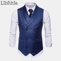 красные серые свадебные цвета оптовых-Men's Solid Colors Suit Vest Casual Double-breasted Big Size M-4XL  Wedding Waistcoat Men Wine Red Blue Black Grey T185