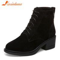 venta de zapatos anchos al por mayor-KARINLUNA Nuevo Solid Lace Up Wide Med Heels 5 cm Venta caliente zapatos de plataforma para mujer Casual invierno botines de gran tamaño 34-43