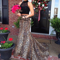 Wholesale Maternity Leopard Print - 2018 New Sexy Leopard Print High Neck Two Pieces Mermaid Prom Dresses Sleeveless Beading Sweep Train Evening Dress Party Gowns Custom Made