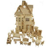 minyatür ölçek toptan satış-1:24 Ölçekli Gotik ahşap evi DIY Ahşap Dollhouse ve Mobilya el sanatları 3D Minyatür modeli kitleri Resim childen hediyeler