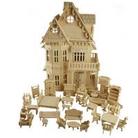 möbelmodellierung großhandel-1:24 Maßstab Gotische Holzhaus Villa DIY Holz Puppenhaus und Möbel Handwerk 3D Miniatur Modellbau-Bild Kinder Geschenke