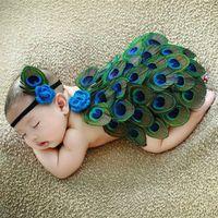 Wholesale crochet baby clothes online - Newborn Crochet photography Sets Baby Photography Props Peacock Clothes Cloak headband set Cartoon infant peahen Styling clothing C5093