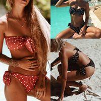 Wholesale yellow polka dot bikini - Bikinis for Women 2018 New Wrap Bikini Set Swimsuit Bathing Suit Swimwear Beachwear 33