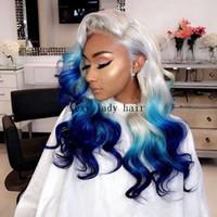 pelucas de pelo azul largo al por mayor-Fibra de alta temperatura Sin cola Pelo brasileño Peruca Cuerpo largo onda blanco gris Ombre azul Peluca delantera del cordón sintético para las mujeres