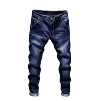 moda motera para hombre al por mayor-El diseñador de moda los pantalones vaqueros flacos de los hombres pantalones vaqueros elásticos rectos delgados pantalones casuales para hombre del motorista masculino Stretch Denim pantalones clásicos