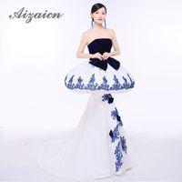 vestido de novia chino tradicional blanco al por mayor-Vestidos de noche de la sirena sin tirantes que se arrastran Sexy Qipao China Boda de Cheongsam Vestido de la manera larga tradicional china del chino azul