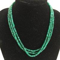 rubies piedras cuentas al por mayor-Tres capas Classic Vintage Natural Stone Jewelry Hechas a mano Noble Green Esmeraldas Red Rubies Necklace Strand Necklace (longitud 45cm)