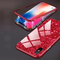 ingrosso lastre di vetro iphone-all'ingrosso la protezione completa per l'iPhone 7 8 6 6S Inoltre Conch Grain vetro temperato placcato Cassa magnetica per iPhone XS Max XR XS X Capa