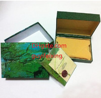 Wholesale card case wood wholesale - Free Shipping Green Watch Box Cases Papers File Card Green Gift Boxes 116610 116660 116520 116710 116613 Original Inner Outer Wristwatch Box