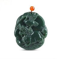 Wholesale hetian pendant resale online - Factory direct genuine natural hetian jade pendant crane Kirin pendant
