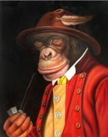 ingrosso pittura a olio di scimmia incorniciata-Incorniciato, Lovely Monkey Art, Dipinto a mano Decorazioni da parete Astratta Animal Art Pittura ad olio su tela Multi formati disponibili, FK18 #