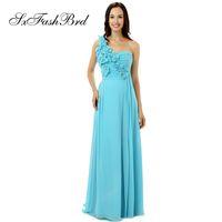 bir omuz gökyüzü mavi elbise toptan satış-Moda Zarif Fırfır Bir Omuz Ile Bir Çizgi Gökyüzü Mavi Şifon Uzun Parti Örgün Abiye Kadınlar için Balo Elbise Abiye