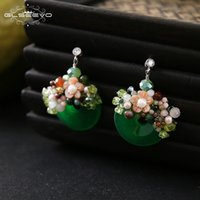 нефрит цветок серьги оптовых-GLSEEVO 925 Sterling Silver Natural Jade Pearl Flower Dangle Earrings For Women Colorful Stone Handmade Jewelry Brincos GE0474