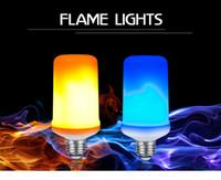 gelbe led-diode großhandel-Flammeneffektlampe LED E27 Dynamische Flammeneffektlampen Maisbirne 9W Diodenemulation Kreative Feuerlichter Lampada Blau / Gelb Feuerlicht