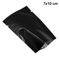 bolsas de sellado al vacío para el almacenamiento al por mayor-Heat Seal negro 7x10 cm superior abierta la hoja de Mylar almacenamiento de alimentos bolsas de papel de aluminio al vacío de ejemplo paquetes de aluminio bolsa con muescas lacrimógenos para Cookies