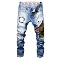 ingrosso metà degli uomini di stivali tagliati-New True Men Robin Rock Revival Jeans stivaletti dal taglio dritto Pantaloni dritti color blu chiaro Jeans per uomo Ricamato smorfia Jeans da uomo