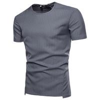 kurze hülse personalisiert t groihandel-Sommer Lässige Mode Herren T-Shirts Vertikale Streifen Rundhalsausschnitt mit kurzen Ärmeln Shirts personalisierte Reißverschluss-Polo-Shirts Neue Marken für Männer Tops