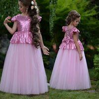 Wholesale peplum flower girl dresses - Lovely Rosy Pink Little Girls Cute Flower Girl Dresses Bling Sequins Bow Back Cap Sleeves Peplum Kids Birthday Communion Gowns