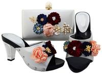 дамы соответствующие туфли туфли оптовых-Самые популярные цветы дизайн серебряный цвет дамы насосы африканская обувь матч сумка набор для платья BL001, каблук 7,7 см