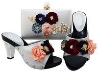 zapatos a juego conjuntos de bolsos al por mayor-La mayoría del diseño popular de las flores platea las bombas de las señoras que los zapatos africanos emparejan el bolso fijó para el vestido BL001, talón los 7.7CM