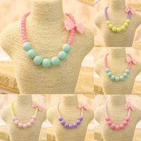 Wholesale Bubblegum Birthday Party - 2018 Fashion Jewelry Beads Necklace Little Girl Baby Kids Princess Bubblegum Necklace For Party Dress Up Birthday Gifts