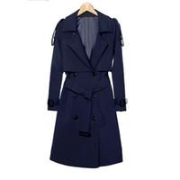 herbstmantel korea groihandel-Korea Stil Frauen Herbst Winter Zweireiher Schlank Mid-lange Trenchcoat Weibliche Beiläufige Elegante Büro Dame Mäntel