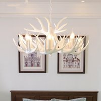 araña blanca vintage al por mayor-Nordic retro Antlers Chandelier luces de techo Lámparas para la cocina del hogar Blanco Antler Lustre iluminación Vintage lámparas
