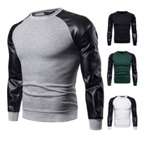 Wholesale leather sweatshirts resale online - Mens Leather Panelled Casual Pullovers Male High Street Crew Neck Long Sleeve Tops Spring Autumn Sweatshirts