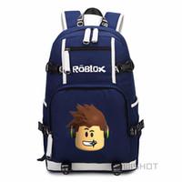 пурпурные рюкзаки для детей оптовых-WISHOT Roblox дети мальчики дети рюкзак для подростков мода школьная сумка путешествия с USB порт зарядки