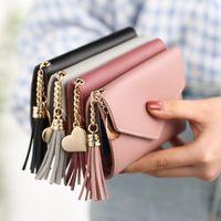 Wholesale korean bag tassel - New fashion small purse short female Japanese and Korean version of cute little fresh tassel Mini student wallet wallet