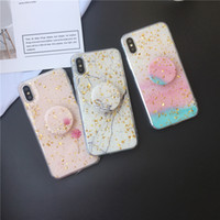 Wholesale iphone silicone case 6s online – custom Gold Foil Bling Glitter Marble Phone Case for iPhone XS Max XR X Plus Soft Silicone phone cases with Bracket